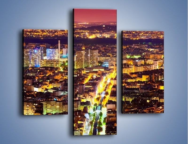 Obraz na płótnie – Kolory Paryża nocą – trzyczęściowy AM419W3