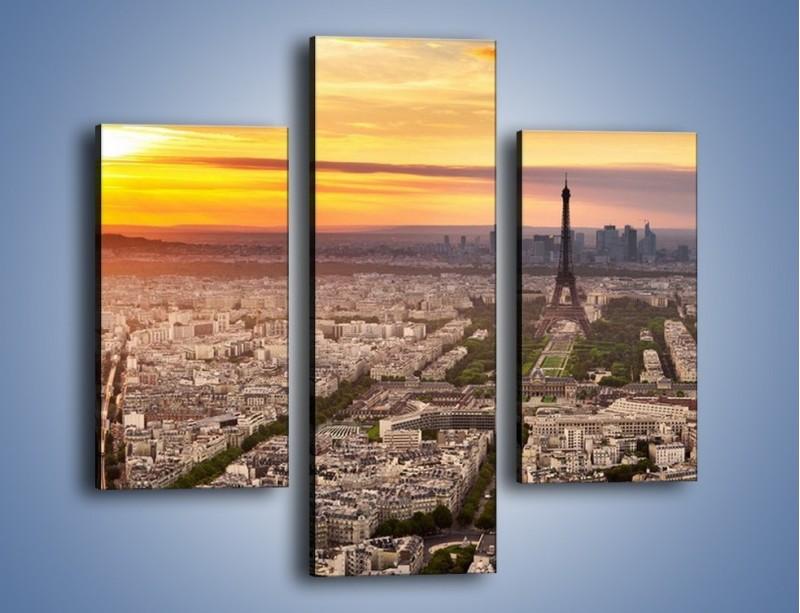 Obraz na płótnie – Zachód słońca nad Paryżem – trzyczęściowy AM420W3