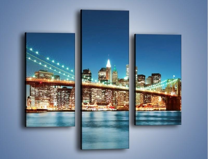 Obraz na płótnie – Most Brookliński na tle Nowego Jorku – trzyczęściowy AM428W3
