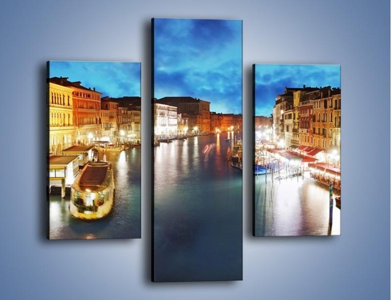 Obraz na płótnie – Światła Wenecji po zmroku – trzyczęściowy AM430W3