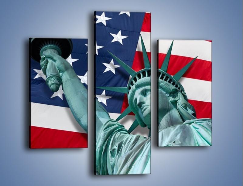 Obraz na płótnie – Statua Wolności na tle flagi USA – trzyczęściowy AM435W3