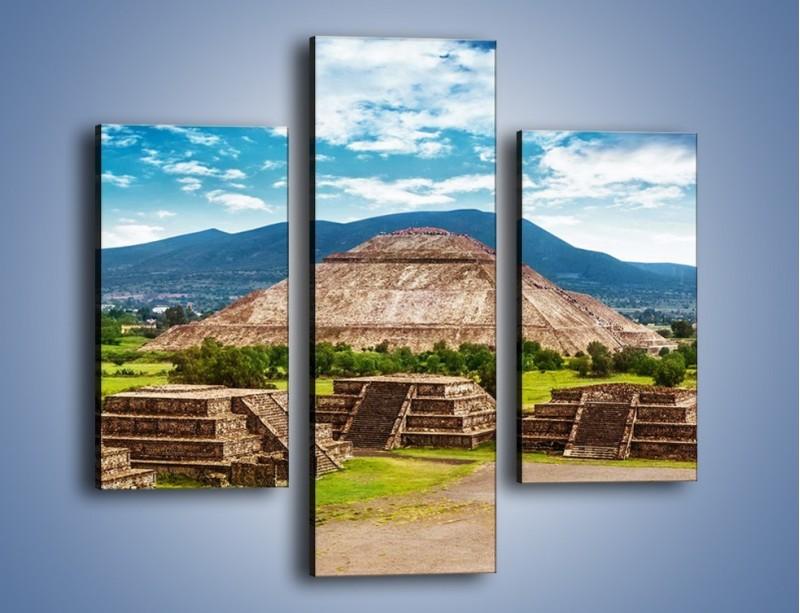 Obraz na płótnie – Piramida Słońca w Meksyku – trzyczęściowy AM450W3