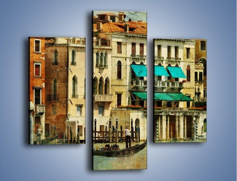 Obraz na płótnie – Weneckie domy w stylu vintage – trzyczęściowy AM459W3