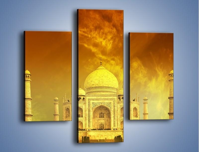 Obraz na płótnie – Tadź Mahal w żółtym kolorze – trzyczęściowy AM465W3