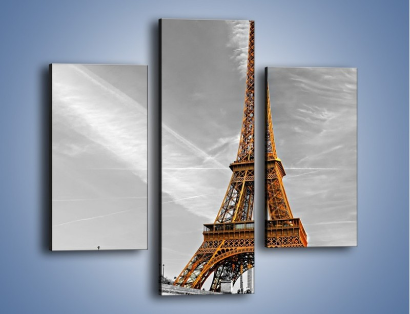 Obraz na płótnie – Wieża Eiffla na szarym tle – trzyczęściowy AM467W3