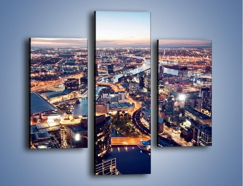 Obraz na płótnie – Panorama Melbourne po zmierzchu – trzyczęściowy AM470W3