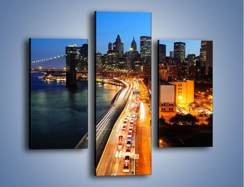 Obraz na płótnie – Manhattan wieczorową porą – trzyczęściowy AM477W3