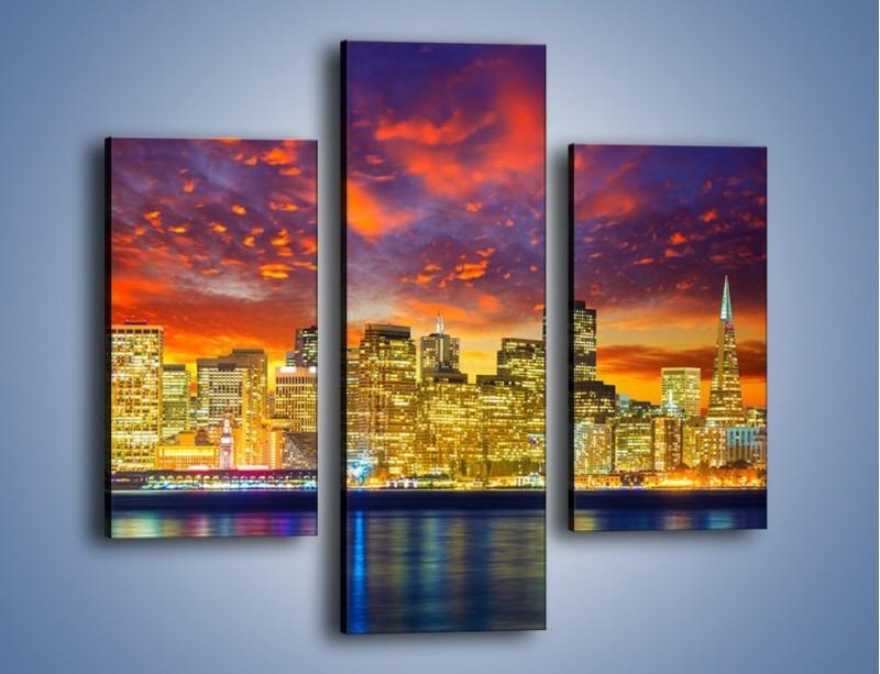 Obraz na płótnie – Wieżowce San Francisco nad wodą – trzyczęściowy AM481W3