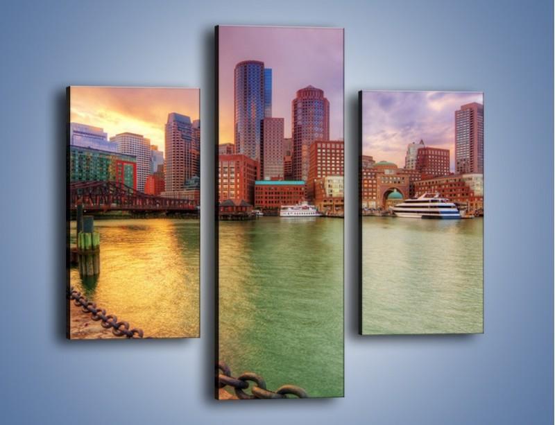 Obraz na płótnie – Widok na centrum Bostonu – trzyczęściowy AM486W3