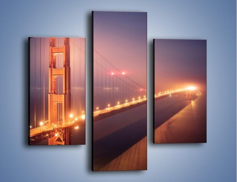 Obraz na płótnie – Most Golden Gate w nocnej mgle – trzyczęściowy AM490W3