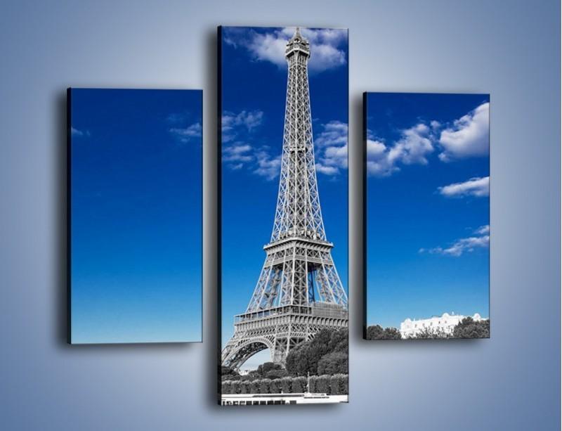 Obraz na płótnie – Wieża Eiffla w kolorze szarości – trzyczęściowy AM497W3