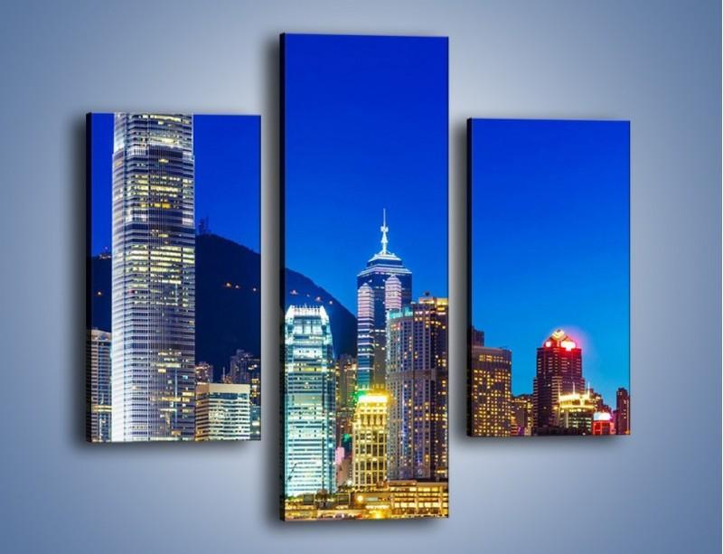 Obraz na płótnie – Oświetlone wieżowce Hong Kongu – trzyczęściowy AM498W3