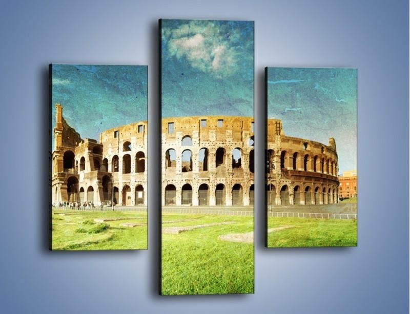 Obraz na płótnie – Koloseum w stylu vintage – trzyczęściowy AM503W3