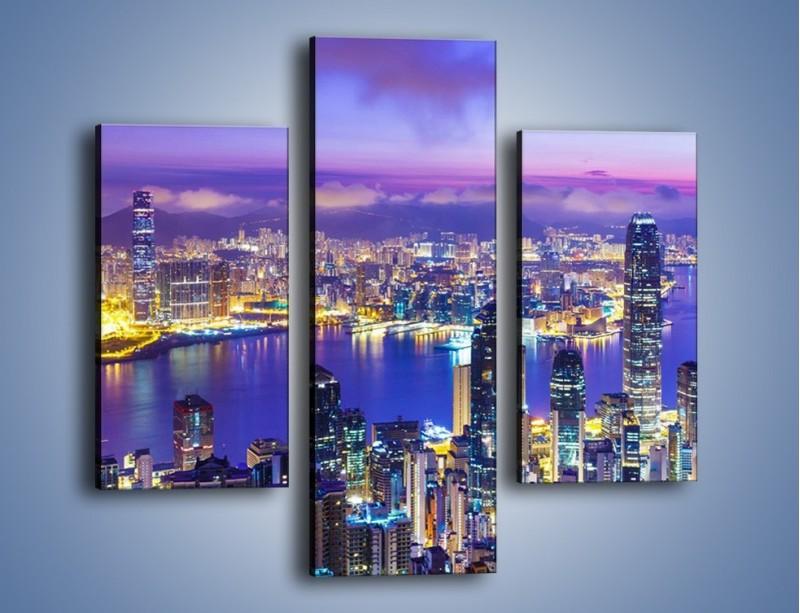 Obraz na płótnie – Wieczorna panorama Hong Kongu – trzyczęściowy AM505W3