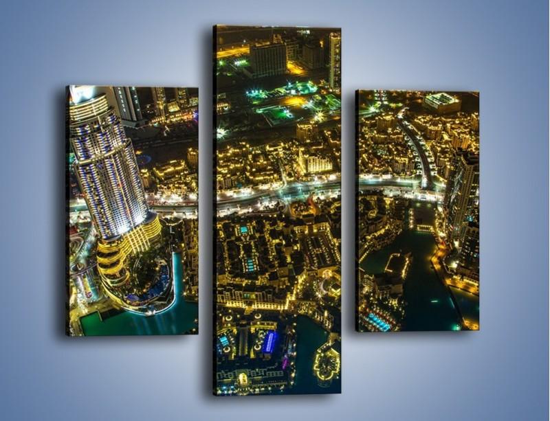 Obraz na płótnie – Dubaj nocą z lotu ptaka – trzyczęściowy AM507W3