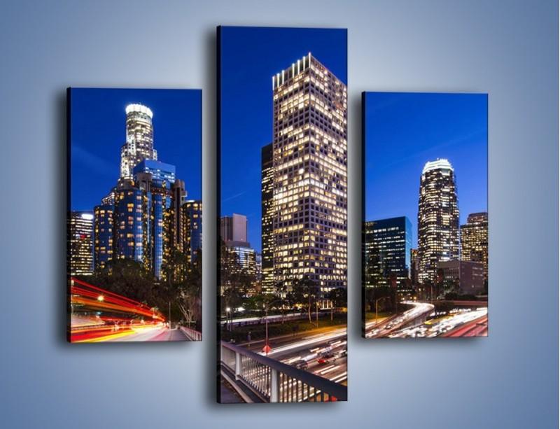 Obraz na płótnie – Los Angeles w wieczornych światłach – trzyczęściowy AM522W3