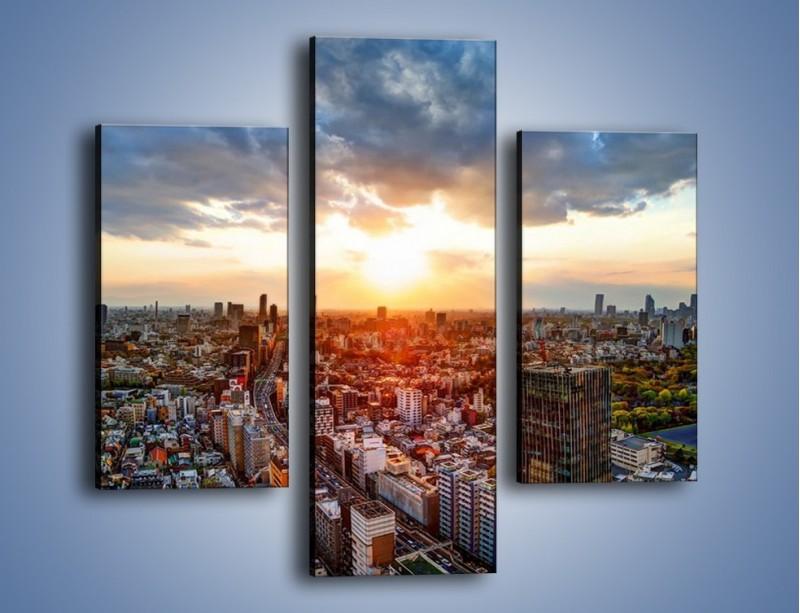 Obraz na płótnie – Panorama miasta o zachodzie słońca – trzyczęściowy AM587W3