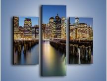 Obraz na płótnie – Zniszczone molo i widok na Manhattan – trzyczęściowy AM601W3