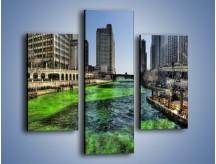Obraz na płótnie – Chicago River w Dzień św. Patryka – trzyczęściowy AM605W3