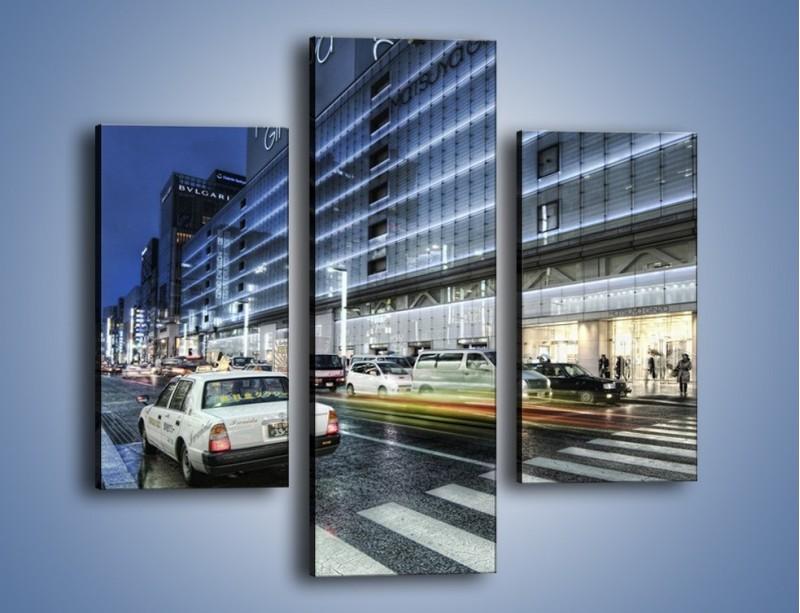 Obraz na płótnie – Ulica Tokyo w deszczu – trzyczęściowy AM613W3