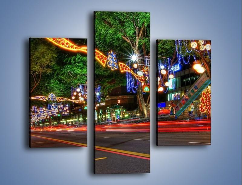Obraz na płótnie – Noworoczne dekoracje w Singapurze – trzyczęściowy AM616W3