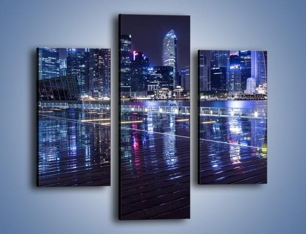 Obraz na płótnie – Światła miasta odbite w kałużach deszczu – trzyczęściowy AM628W3
