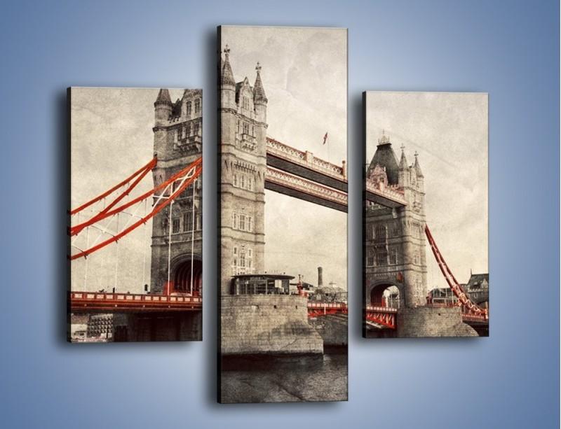 Obraz na płótnie – Tower Bridge w stylu vintage – trzyczęściowy AM668W3