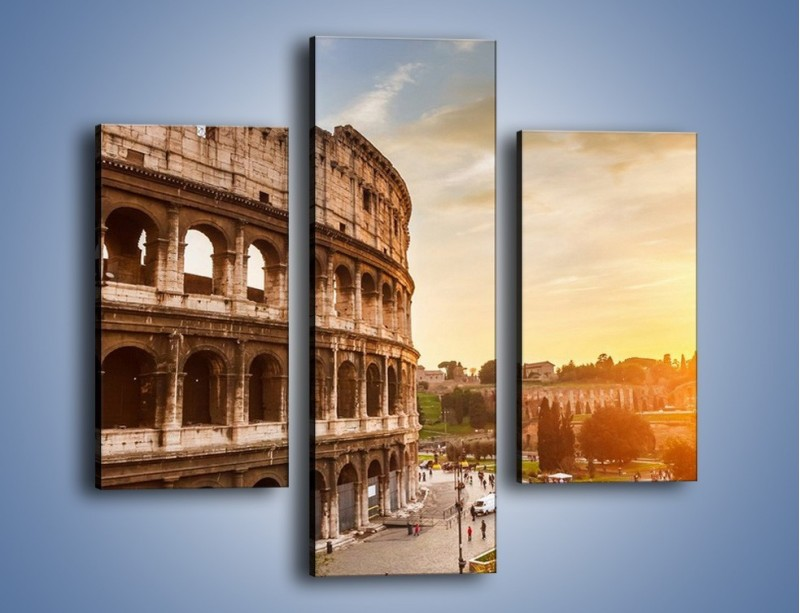 Obraz na płótnie – Rzymskie Koloseum o zachodzie słońca – trzyczęściowy AM684W3