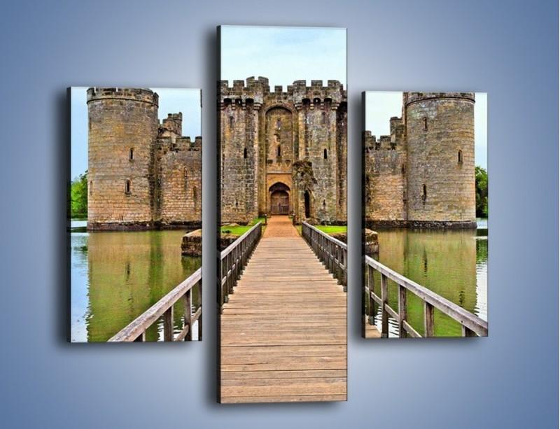 Obraz na płótnie – Zamek Bodiam w Wielkiej Brytanii – trzyczęściowy AM692W3