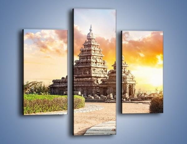 Obraz na płótnie – Świątynia Śiwy o zachodzie słońca – trzyczęściowy AM696W3