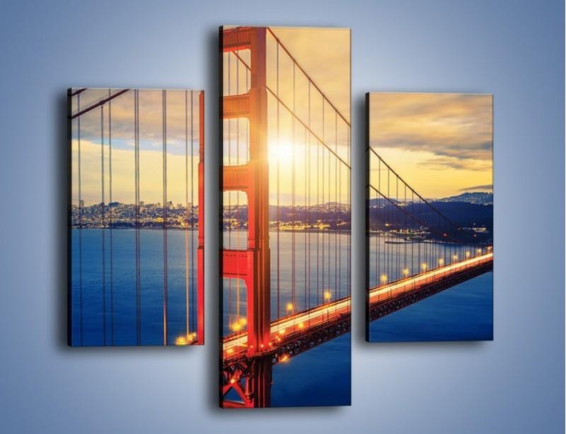 Obraz na płótnie – Zachód słońca nad Mostem Golden Gate – trzyczęściowy AM738W3