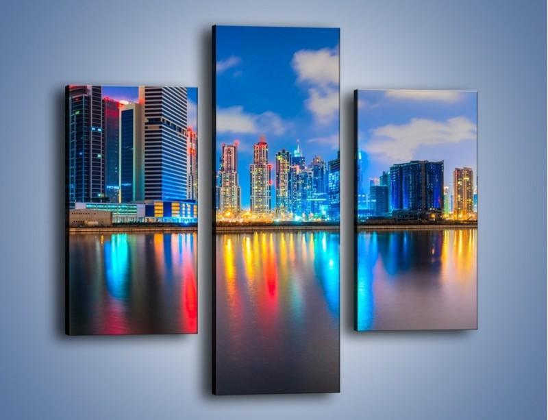 Obraz na płótnie – Kolory Dubaju odbite w wodzie – trzyczęściowy AM740W3