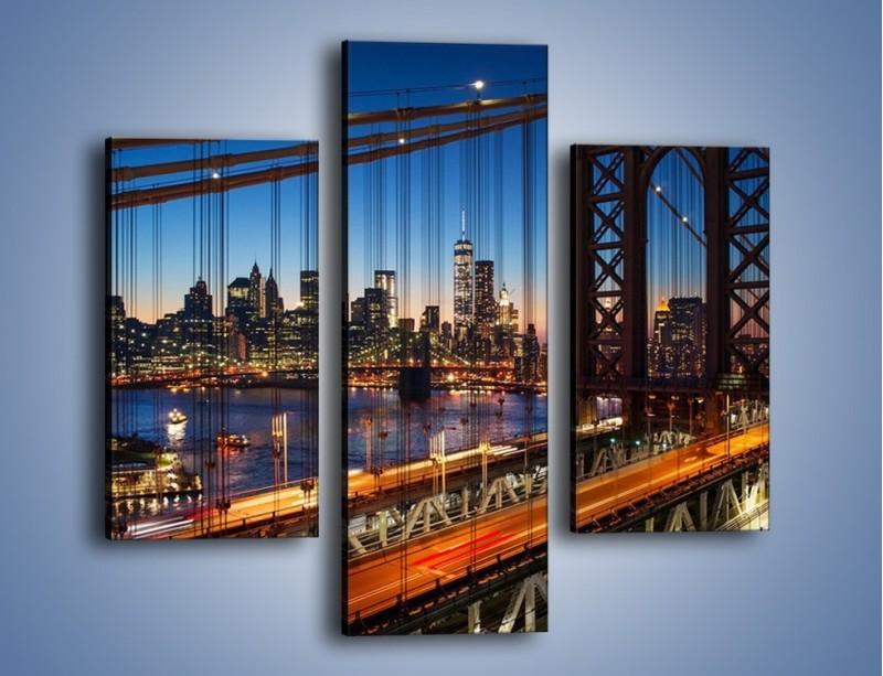 Obraz na płótnie – Nowojorskie mosty na tle Manhattanu – trzyczęściowy AM751W3