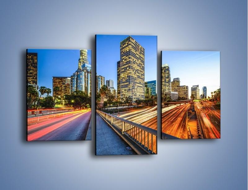 Obraz na płótnie – Światła Los Angeles o zmierzchu – trzyczęściowy AM753W3