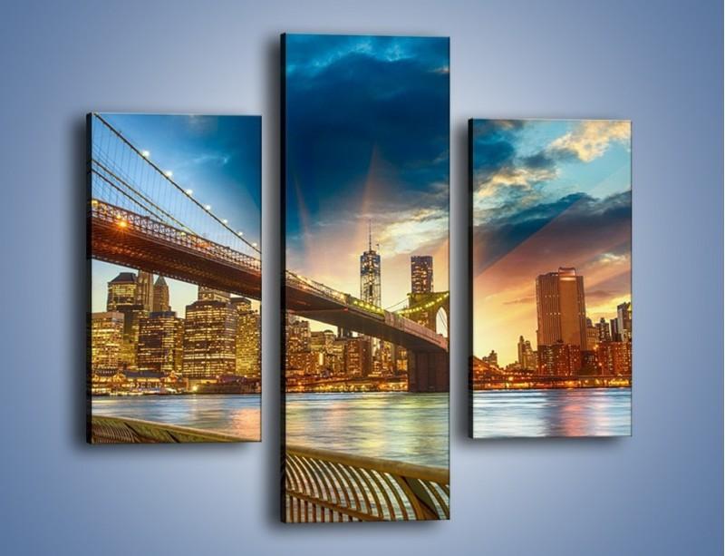 Obraz na płótnie – Most w Nowym Jorku o zmierzchu – trzyczęściowy AM754W3