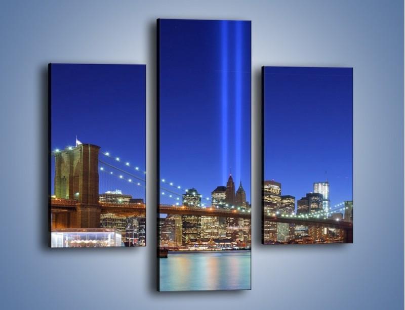 Obraz na płótnie – Świetlne kolumny w Nowym Jorku – trzyczęściowy AM757W3