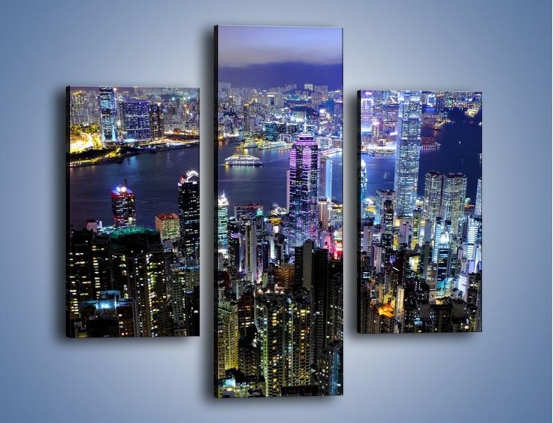 Obraz na płótnie – Nocna panorama Hong Kongu – trzyczęściowy AM772W3
