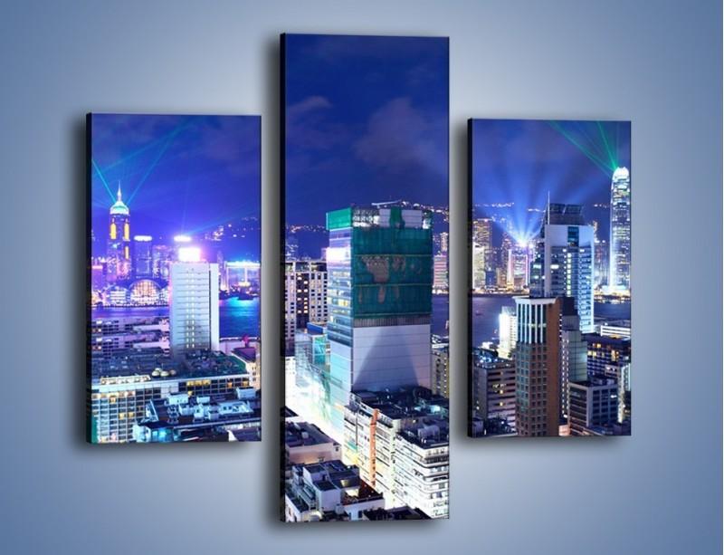 Obraz na płótnie – Pokaz laserów nad Hong Kongiem – trzyczęściowy AM796W3