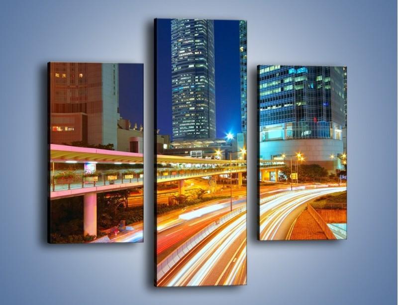Obraz na płótnie – Nocne kolory miasta – trzyczęściowy AM808W3