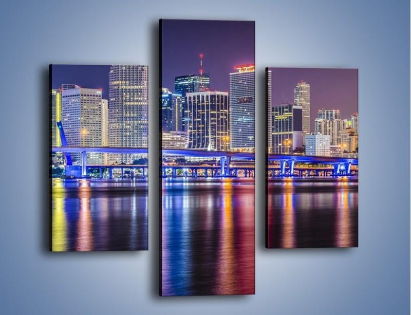 Obraz na płótnie – Światla Miami w odbiciu wód Biscayne Bay – trzyczęściowy AM813W3
