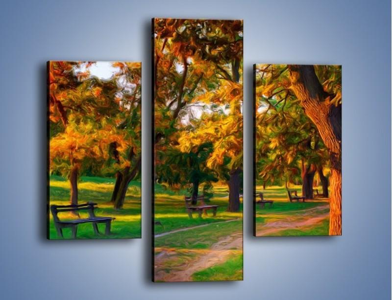 Obraz na płótnie – Ławeczka w parku – trzyczęściowy GR011W3
