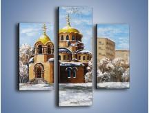 Obraz na płótnie – Cerkiew w trakcie zimy – trzyczęściowy GR024W3