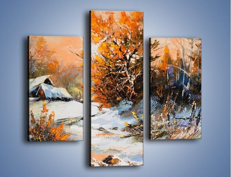 Obraz na płótnie – Zimowy klimat na wsi – trzyczęściowy GR027W3