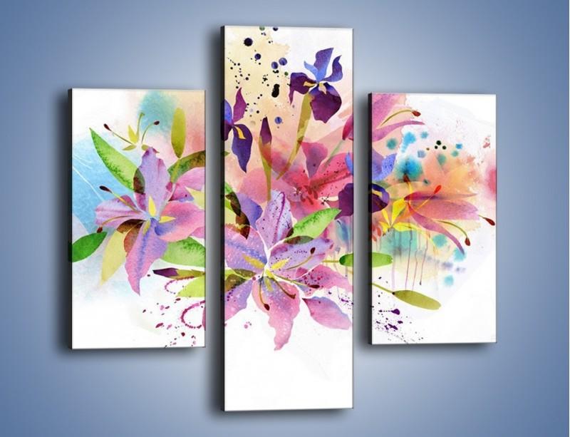 Obraz na płótnie – Kolory zachowane w kwiatach – trzyczęściowy GR043W3