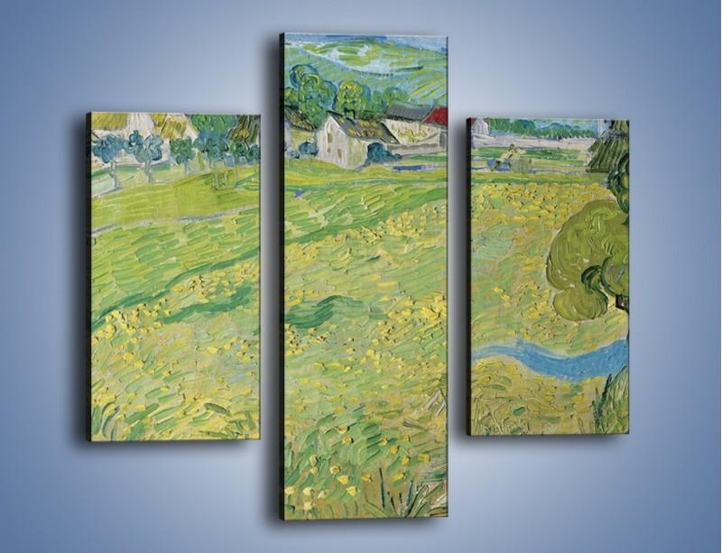 Obraz na płótnie – Łąka i małe domki – trzyczęściowy GR105W3