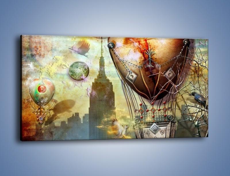 Obraz na płótnie – Balonem przez miasto – jednoczęściowy panoramiczny GR451