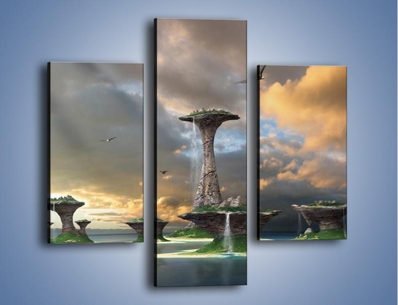 Obraz na płótnie – Kamienne fontanny pełne magii – trzyczęściowy GR130W3