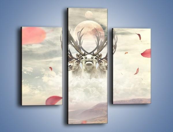 Obraz na płótnie – Podniebne jelenie – trzyczęściowy GR150W3