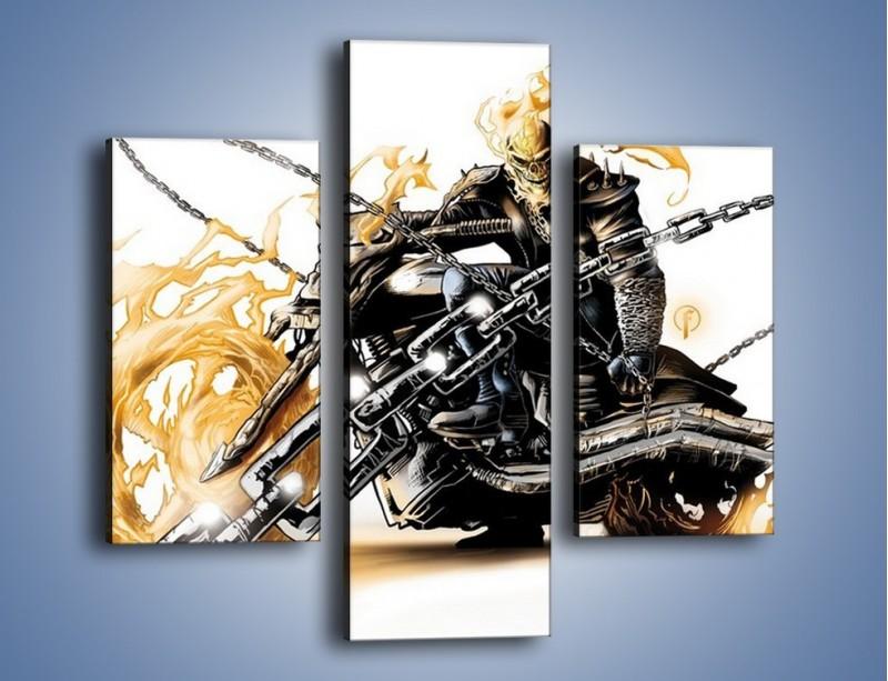 Obraz na płótnie – Mroczna postać na motorze – trzyczęściowy GR167W3