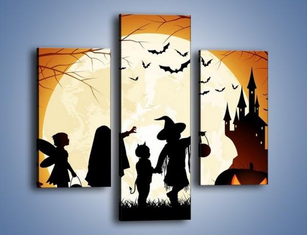 Obraz na płótnie – Mali bohaterowie w halloween – trzyczęściowy GR234W3